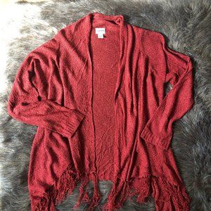 Chico's M / L Red Fringed Sweater Top Long Sleeve